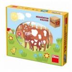 Dino-64120 Puzzle Cubes en Bois - Animaux de la Ferme