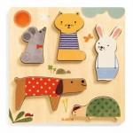 Djeco-01051 Puzzle en Bois - Woodypets