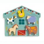 Djeco-01055 Puzzle en Bois - Mowy