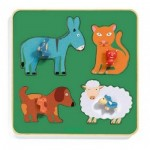 Djeco-01061 Puzzle Cadre en Bois - Family Farm