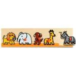 Puzzle  Djeco-01111 Encastrement 5 pièces en bois  - Savane