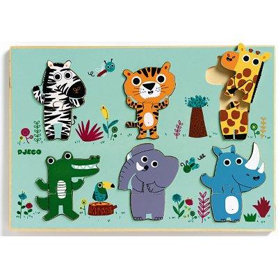 Puzzle Djeco-01258 Encastrement 12 pièces en bois - Coucou jungle