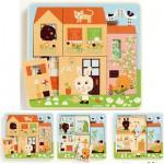 Djeco-01480 Puzzle 3 niveaux - Cottage des Lapins