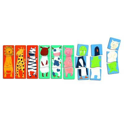Djeco-01551 Puzzle 9 x 3 pièces en bois - Premiers puzzles : Drôles d'animaux