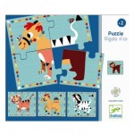 Djeco-01556 4 Puzzles en Bois - Rigolo n'co