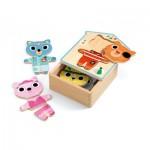 Djeco-01678 6 Puzzles en Bois - Dressup-mix