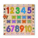 Puzzle  Djeco-01801 Encastrement en Bois - Les Chiffres de 1 à 10