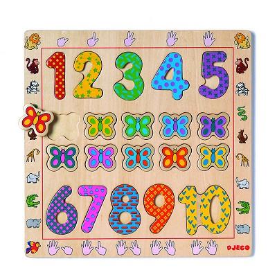 Puzzle Djeco-01801 Encastrement 20 pièces en bois - Les chiffres de 1 à 10