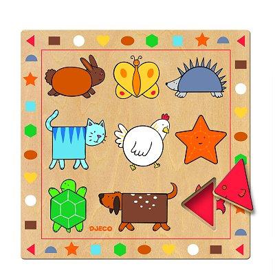 Puzzle Djeco-01803 Encastrement 9 pièces en bois - Les formes