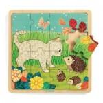 Djeco-01813 Puzzle en Bois - Garden