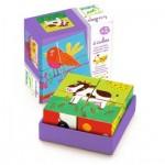Djeco-01900 Puzzle Cubes en Bois - Meuh & Co