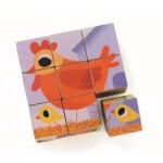 Djeco-01950 Puzzle Cubes en Bois - Piou Piou & Cie