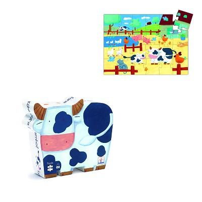 Puzzle Djeco-07205 Silhouette - Vaches à la Ferme
