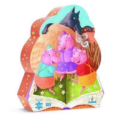 Djeco-07212 Puzzle silhouette - 24 pièces - Les trois petits cochons