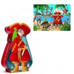 Puzzle  Djeco-07220 Silhouette - Le Pirate et son Trésor