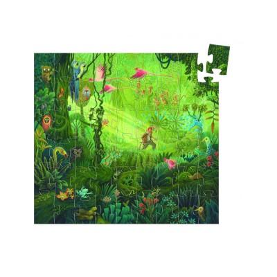 Djeco-07244 Puzzle silhouette - Dans la Jungle