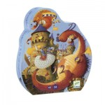 Djeco-07256 Puzzle Silhouette - Vaillant & les Dragons