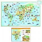 Puzzle  Djeco-07420 Poster et livret : Les animaux du monde