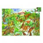 Puzzle  Djeco-07424 Poster et Livret - Découverte dinosaures
