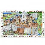 Puzzle  Djeco-07503 Poster et jeu d'observation : Château fort