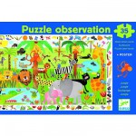 Puzzle  Djeco-07590 Poster et jeu d'observation : La jungle