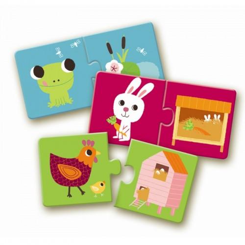 Djeco-08164 10 Puzzles - Duo : Animaux - Habitat