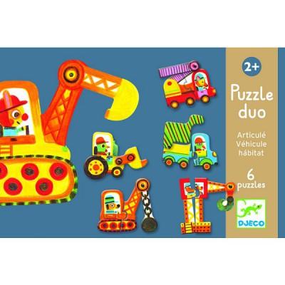 Djeco-08170 Puzzle 6 x 2 pièces : Duo : Articulo véhicule