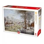 Puzzle  Deico-Games-76656 Brueghel Le Jeune - Winterlandscape with a Bird Traps