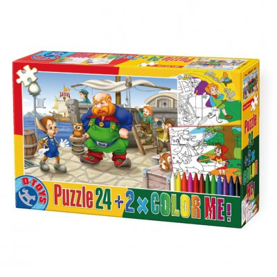 Puzzle Dtoys-50380-PC-05 Color Me : Pinocchio + 2 dessins à colorier