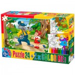Puzzle  Dtoys-50380-PC-06 Color Me : Le petit Chaperon Rouge + 2 dessins à colorier