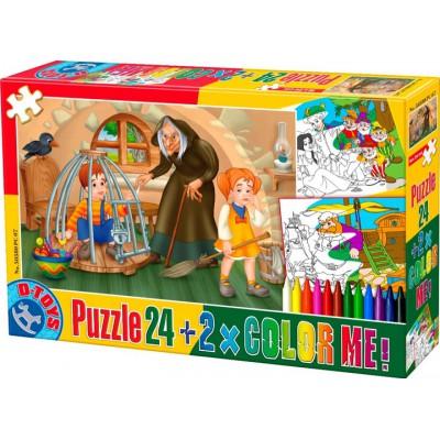 Puzzle Dtoys-50380-PC-07 Color Me : Hansel et Gretel + 2 dessins à colorier