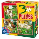 Dtoys-60150-AL-01 3 Puzzles - Chiens, coqs, poules, moutons et lapins