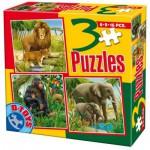Dtoys-60150-AL-04 3 Puzzles - Lions, singes et éléphants