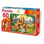 Puzzle  Dtoys-61478-AN-03 La famille ours avec les animaux de la forêt