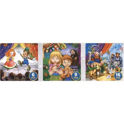 Puzzle Dtoys-63717-BA-02 Contes et Légendes : Pinocchio, Hansel et Gretel, le Chat Botté