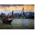Puzzle  DToys-64301-NL05-(70548) Paysages nocturnes - Hong-Kong : Baie de Hong-Kong