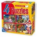Dtoys-64592-PV-01 4 Puzzles - Contes et Légendes : Cendrillon, Hansel et Gretel, Le Chat Botté