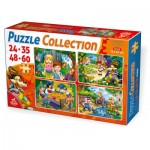 Puzzle  Dtoys-65223-PC-01 Contes et Légendes : Hansel et Gretel, le Petit Chaperon Rouge, Les 7 Nains, les 3 petits Cochons