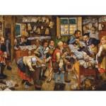 Puzzle  Dtoys-66947-BR06 Brueghel Pieter le Jeune : Le Paiement de la Dîme, 1617-1622