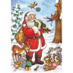 Puzzle  DToys-67616-CH02 Collection de Noël - Le Père Noël et les chiots endormis