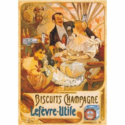 Puzzle Dtoys-69603 Poster Vintage - Biscuits Champagne Lefevre-Utile
