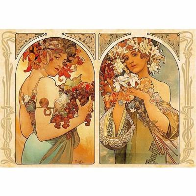 Puzzle Dtoys-70074 Mucha Alphonse - Fruit et Fleur