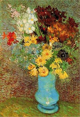 Puzzle DToys-70258 Van Gogh Vincent - Fleurs dans un vase bleu