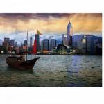 Puzzle  DToys-70548 Paysages nocturnes - Hong-Kong : Baie de Hong-Kong