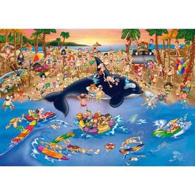 Puzzle Dtoys-70876 Cartoon Collection - Embouteillage à la plage