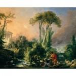 Puzzle  Dtoys-72696-BO-02 François Boucher: Paysage Fluvial avec Temple Antique