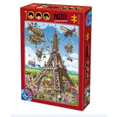 Puzzle Dtoys-74683 Cartoon Collection - Construction de la Tour Eiffel