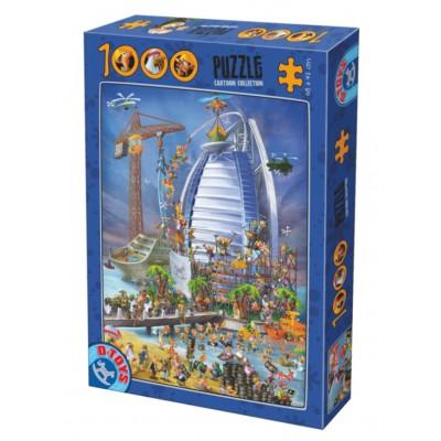 Puzzle Dtoys-74690 Cartoon Collection - Construction du Burj Al Arab
