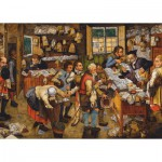 Puzzle  Dtoys-74942 Brueghel Pieter le Jeune : Le Paiement de la Dîme, 1617-1622