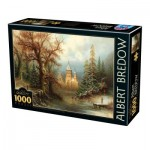 Puzzle  Dtoys-75697 Albert Bredow - Romantic Winter Landscape